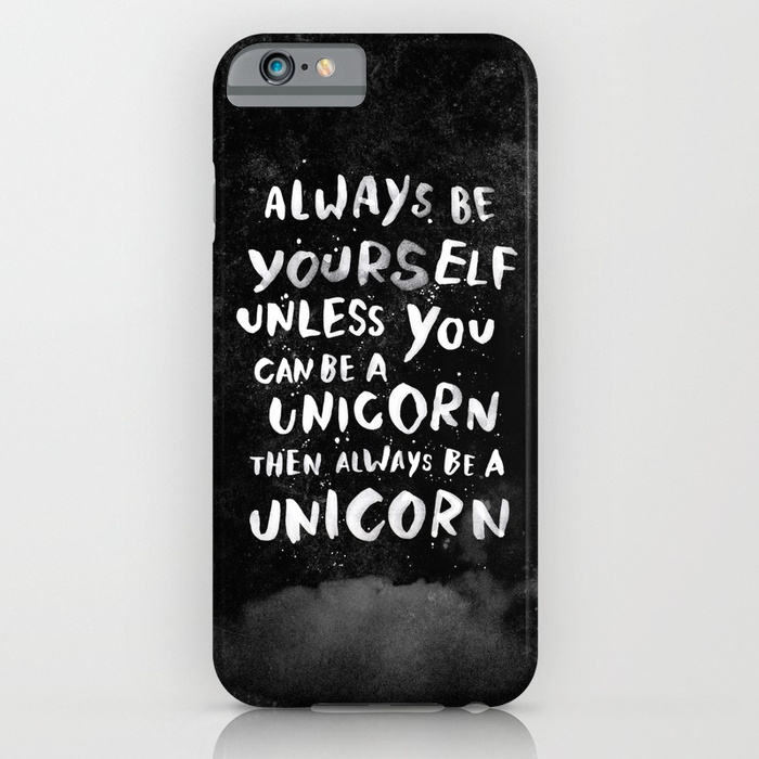 Unicorn iPhone cases: Always be yourself unicorn iPhone case at Society 6
