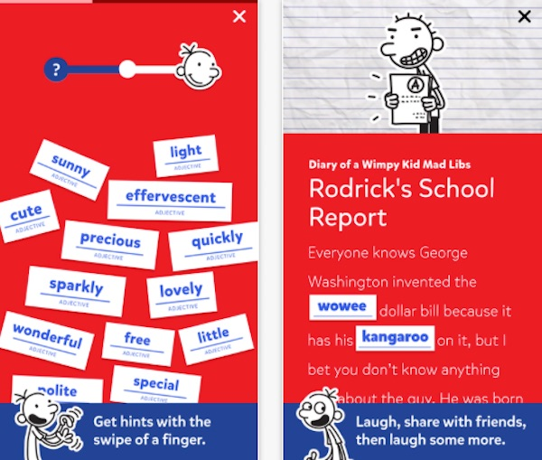Diary of a Wimpy Kid MadLibs: One of the top reading apps for kids on coolmomtech.com