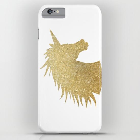 Unicorn iPhone cases: Glitter unicorn case at Society 6