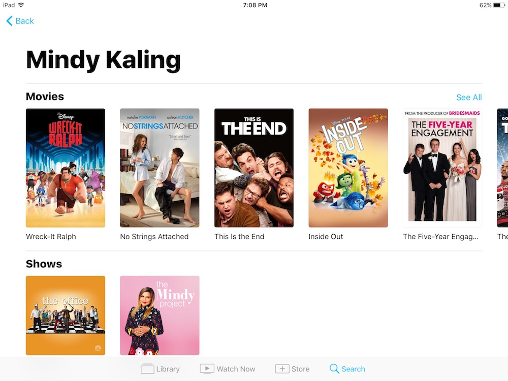 iOS TV app: Search all shows and movies by your favorite actor in one master search engine