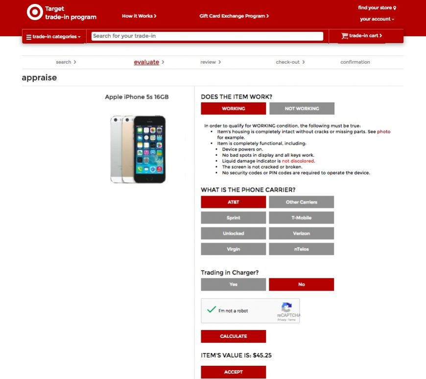 How much can I get for my old iPhone: Target Trade-in