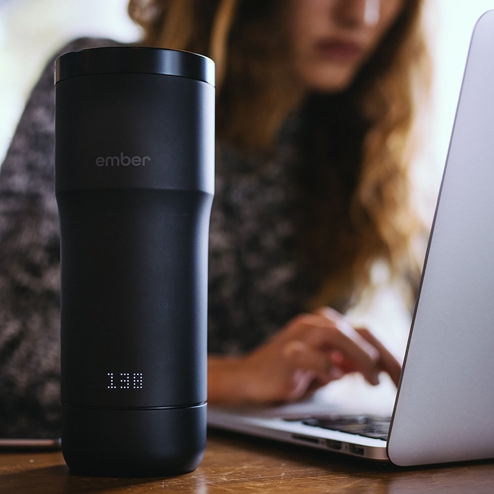 The Ember smart travel coffee mug keeps your coffee at your exact preferred temperature