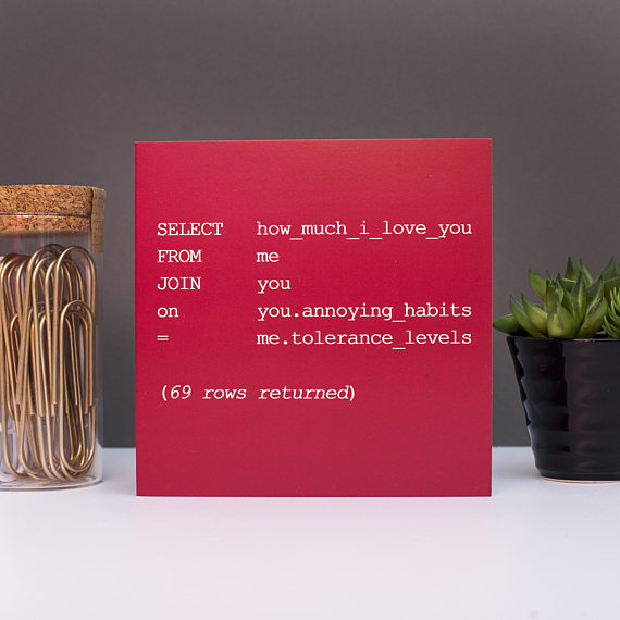 Geeky Valentine's Day card for programmers or coders | Cool Mom Tech