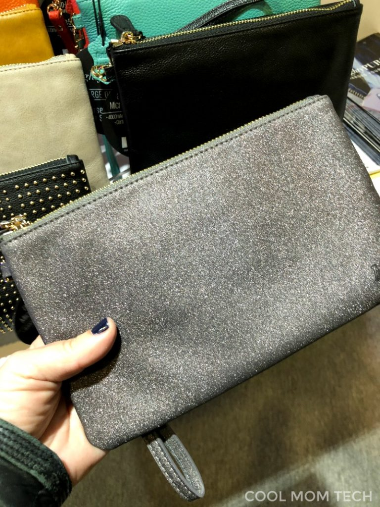 New Mighty Clutch charging purse in a gorgeous sueded silver | CES 2018 Cool Mom Tech
