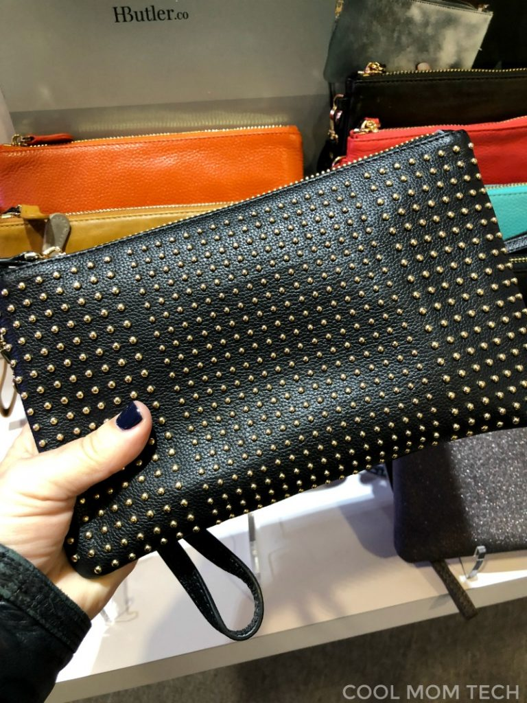 New studded black charging clutch from Mighty Purse | Cool Mom Tech best of CES 2018