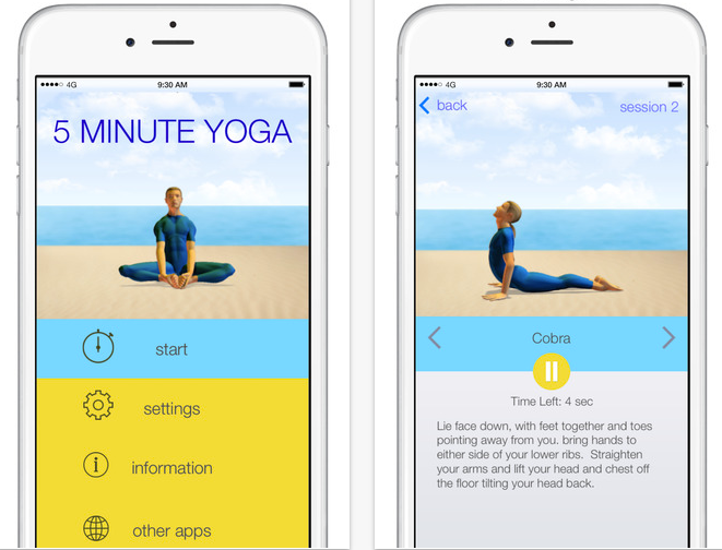 Fitness apps for busy parents: 5 Minute Yoga | Cool Mom Tech