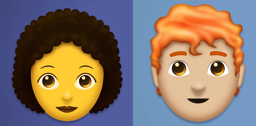 New Emoji: red-haired and curly-haired