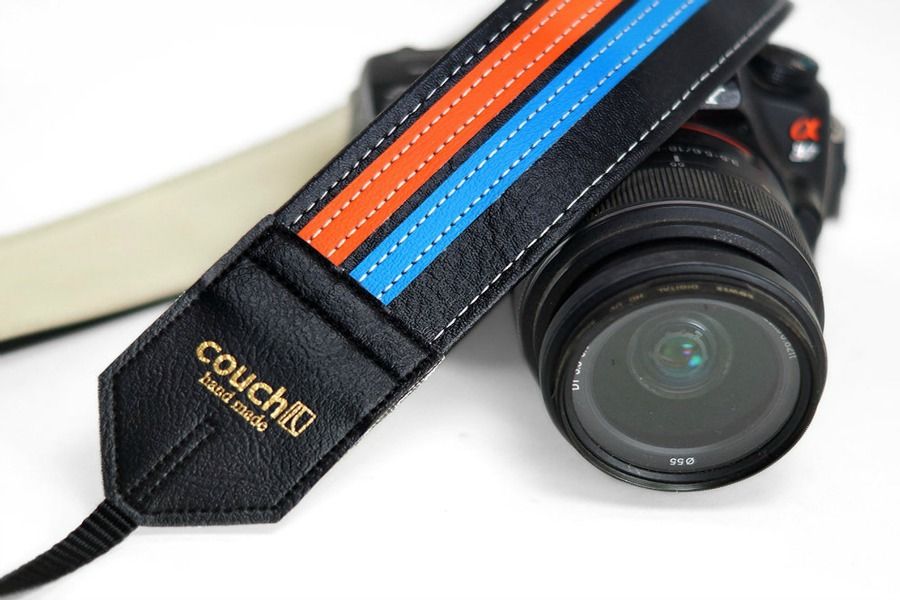Couch handmade camera straps turn old into new.