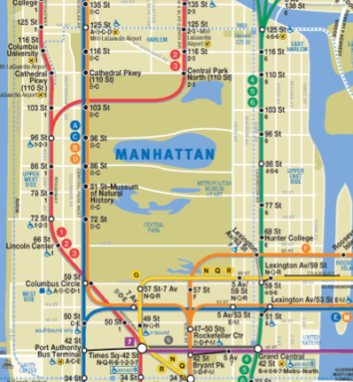 Take the A train. To the C train. Then walk four blocks and catch the bus.