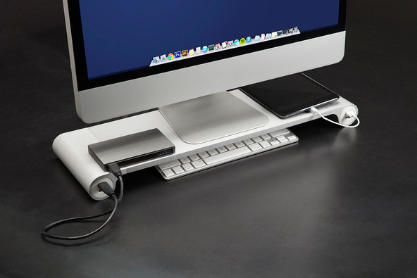 The Space Bar desktop organizer: the only thing missing is the drink