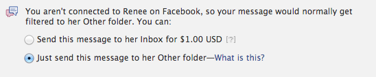 Want to send a Facebook message? That'll cost you.