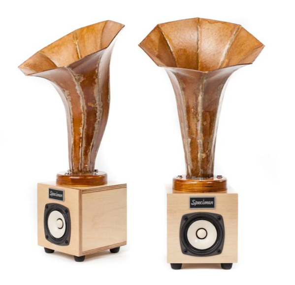 A newfangled eco-friendly audio speaker from the olden days of yore