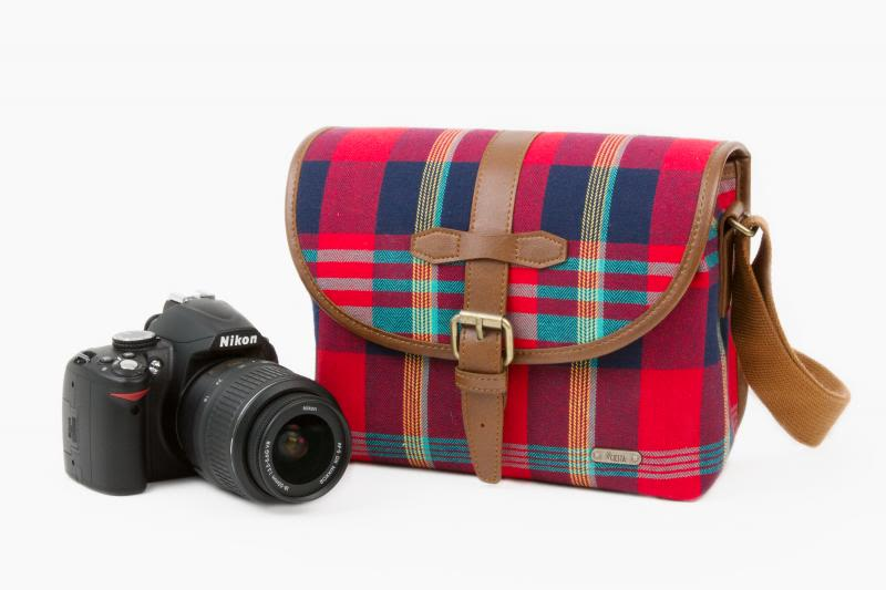 A cute camera satchel with all of the Scotch plaid, none of the haggis