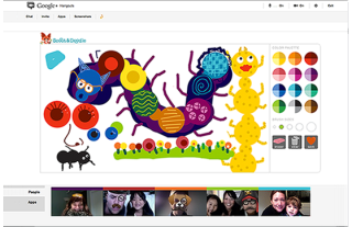 Using Google Plus to connect the kids with the family. And draw insane caterpillars