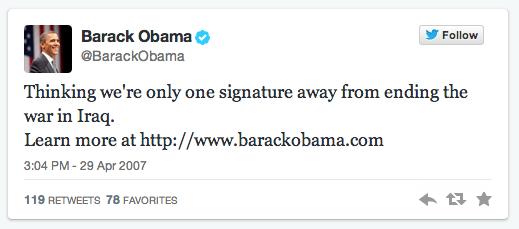 Barack Obama first tweet