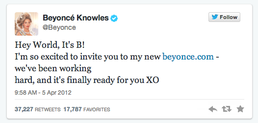 Beyonce first tweet