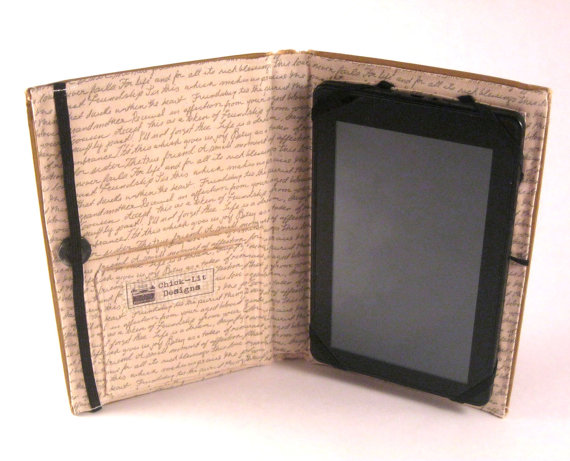 Handmade ereader covers that look like books at Chicklit Designs on Etsy