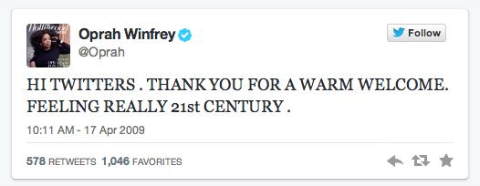Oprah first tweet