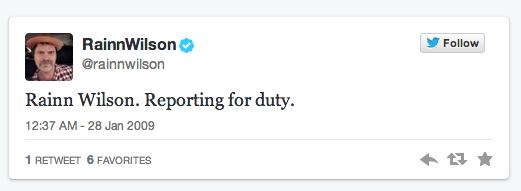 Rainn Wilson first tweet
