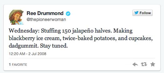 Ree Drummond First Tweet