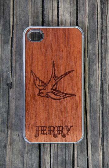 A personalized wooden iPhone case for dad that says don't mess with my iPhone, kid.