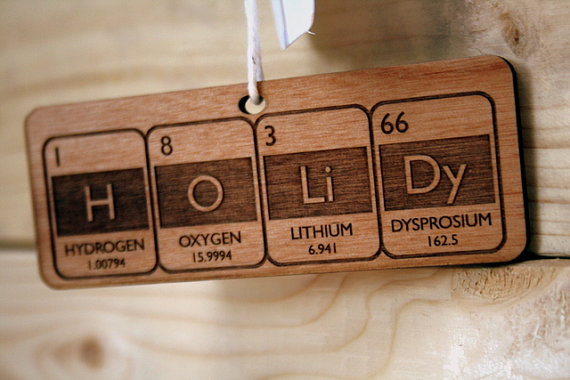 Super cool, geeky holiday ornaments for trees that could benefit from chemistry or a sine curve.