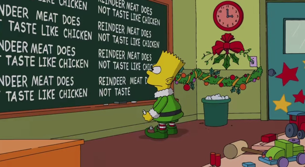 Simpsons 2014 holiday sequence including obligatory Frozen reference