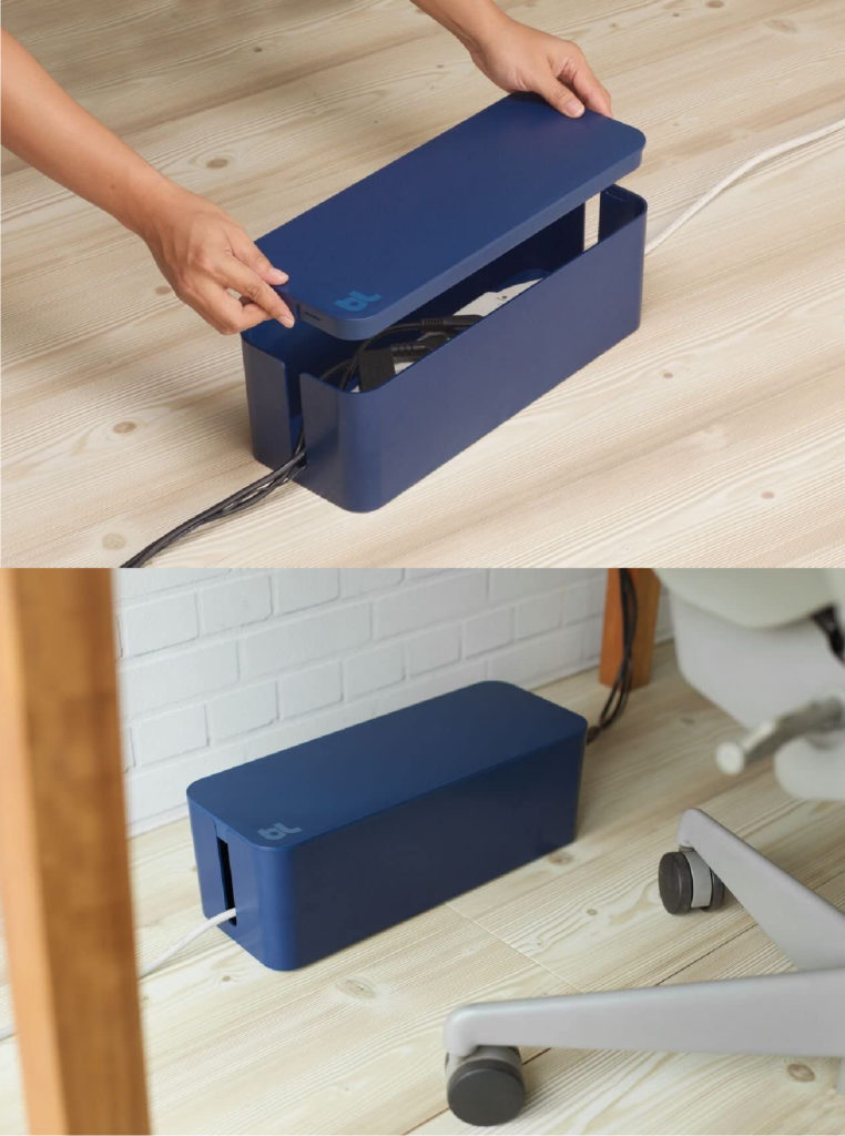 Bluelounge Cable Management box is an elegant, simple solution for taming cords