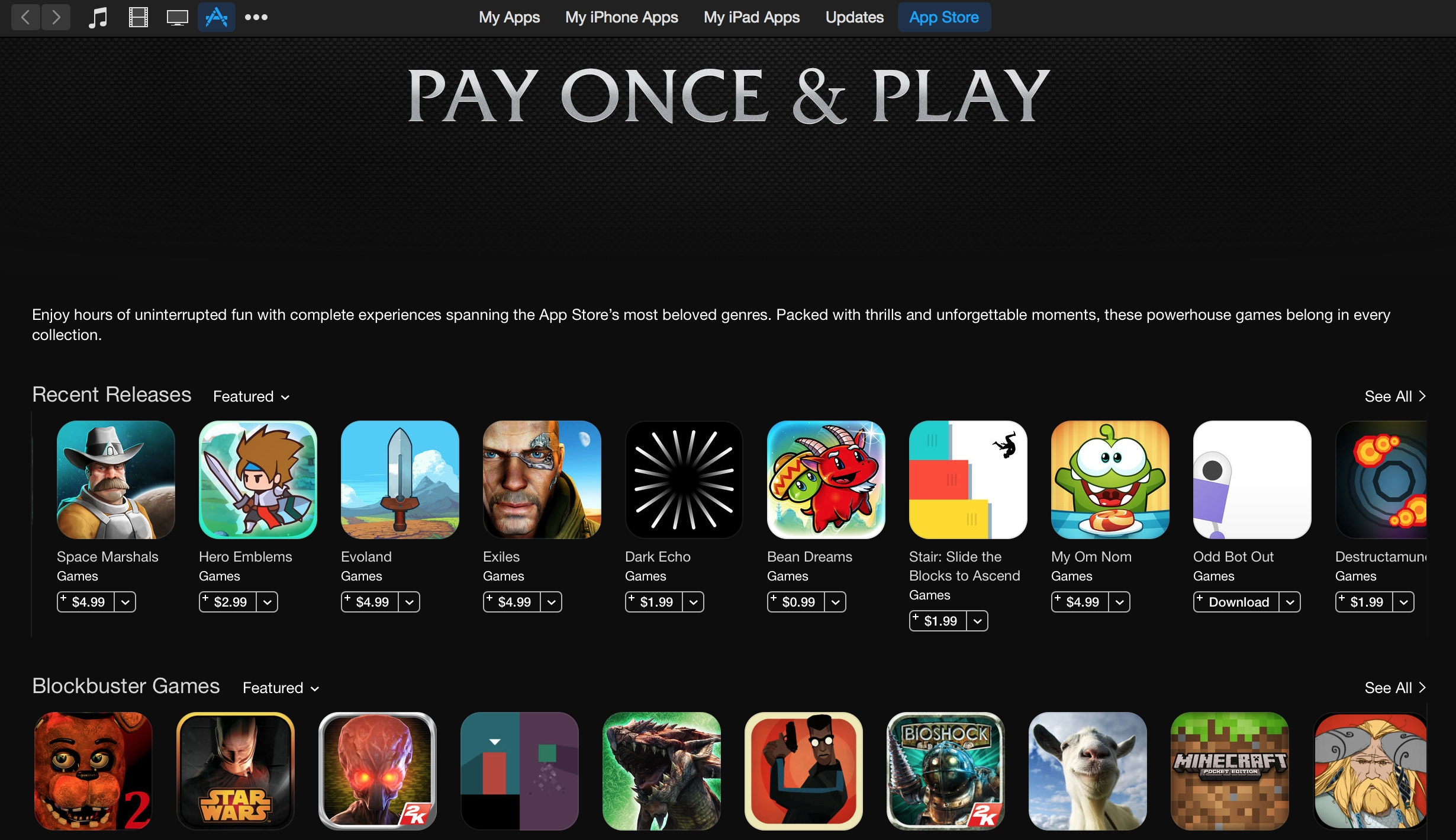 Pay Once and Play: The best games with no in-app purchases. Thank you iTunes!