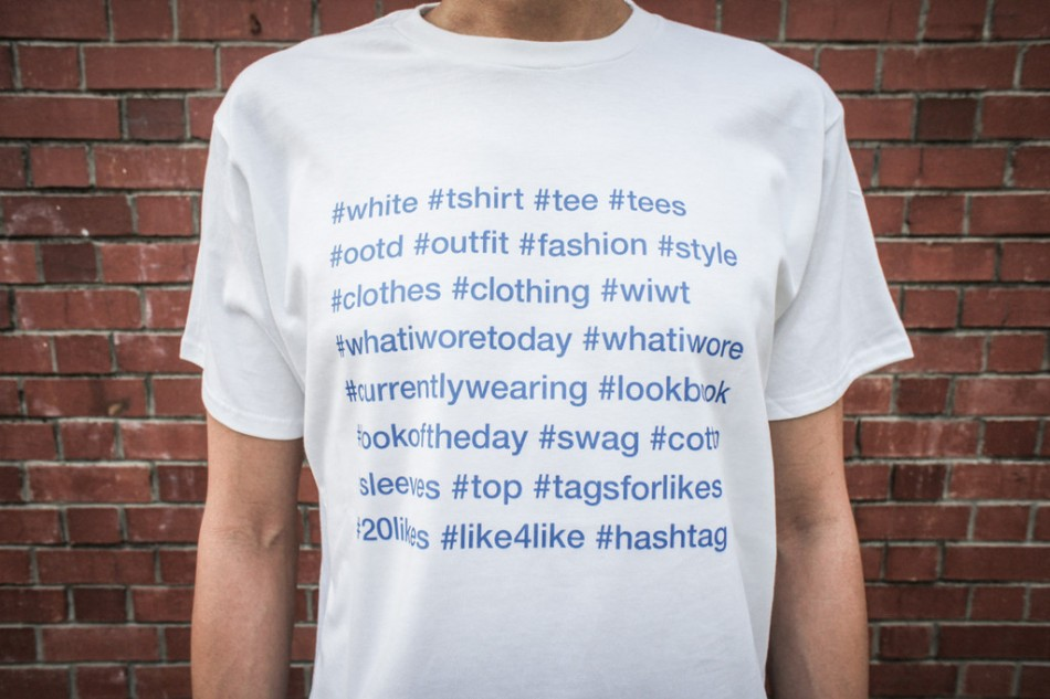 The Instagram fashion hashtag t-shirt. Is it ironic? Or a convenient cheat sheet.