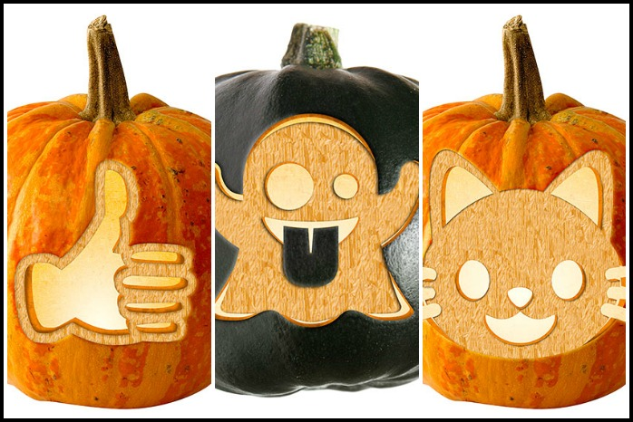 20 free emoji Halloween pumpkin carving stencils that we red heart big time.
