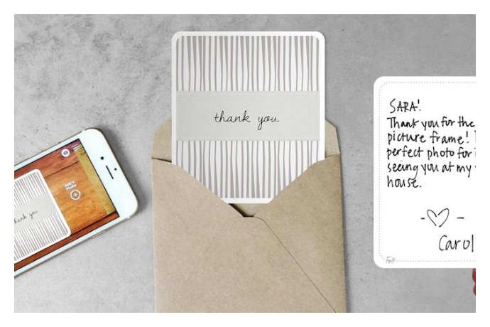 With the Felt greeting card app, your kids will be begging you to let them write their thank you notes