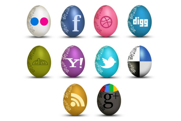 Social media icon Easter eggs. Because, why not?