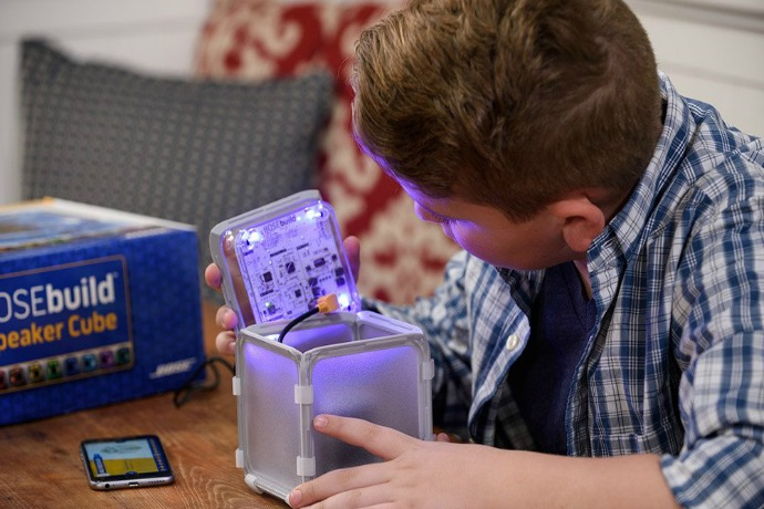 BOSEbuild Speaker Cube: A DIY Bluetooth speaker kit for kids that totally rocks. Yay STEM!