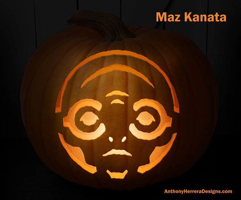 12 free Star Wars pumpkin carving templates from Anthony Herrera, including Maz Kanata | cool mom tech