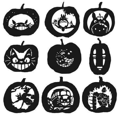 9 free Studio Ghibli pumpkin carving templates from Crayon Monkey on Flickr