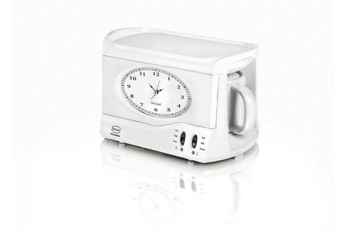 Teasmade: An alarm clock that brews your tea. Jolly good!