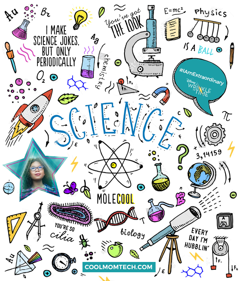 Free printable science stickers to decorate a science journal | Cool Mom Tech in partnership with Disney's A Wrinkle In Time