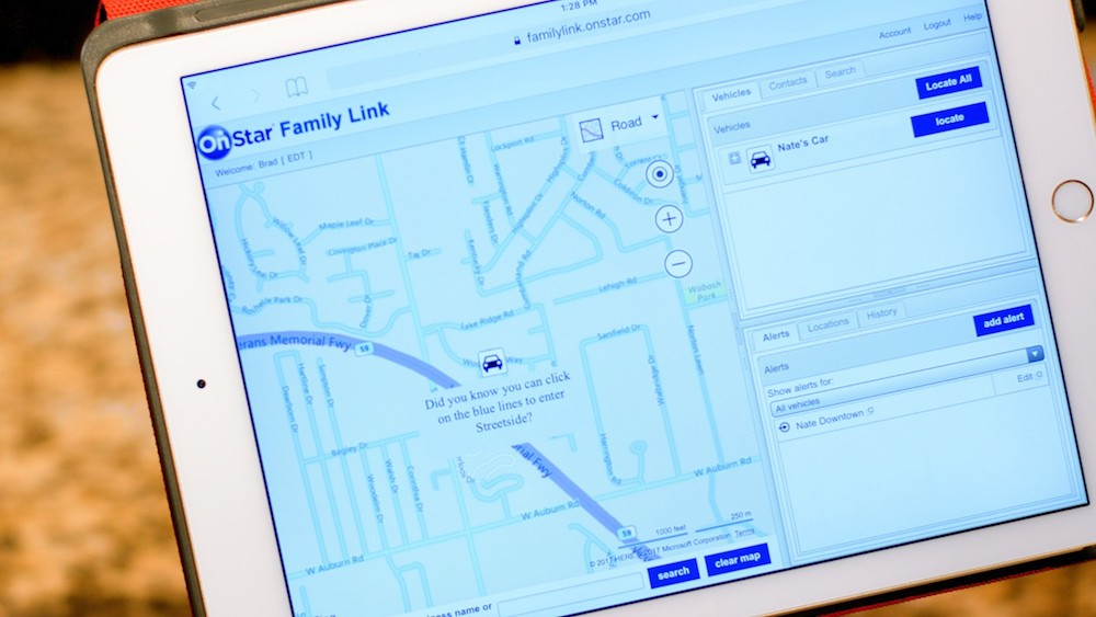 OnStar's Family Link shows you where your child's car is, in real time.