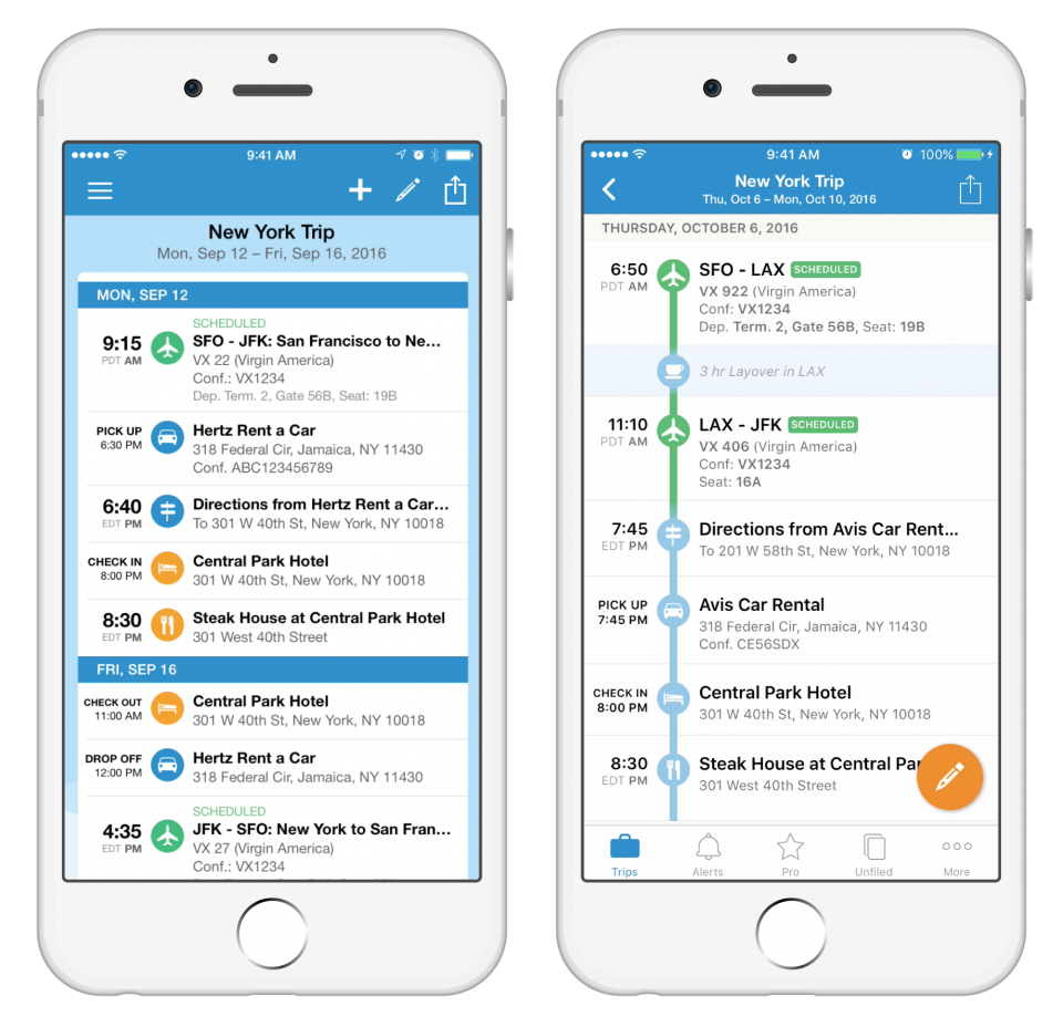 The TripIt app timeline view makes sorting your itinerary so much easier!