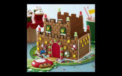 A Super Mario gingerbread house. Wahoo!