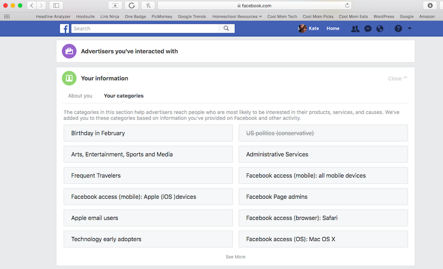 How to update your Facebook categories and ad preferences.