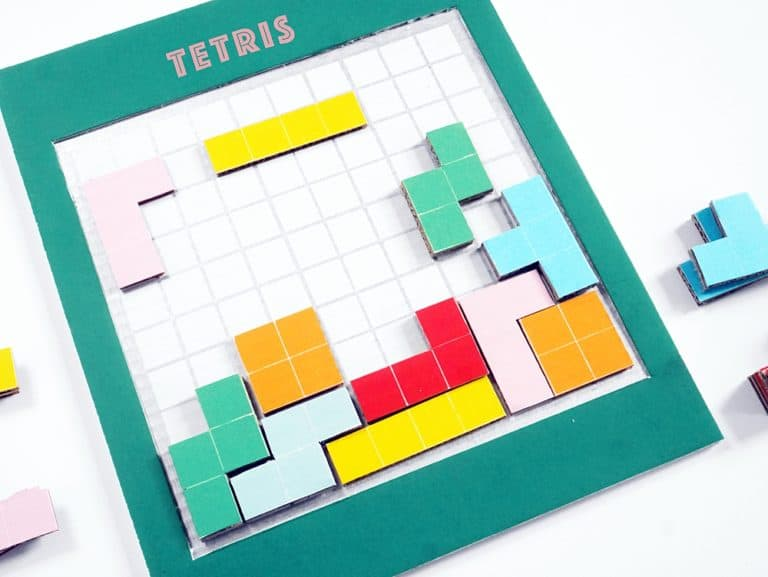 Cardboard TETRIS game from Hello Wonderful