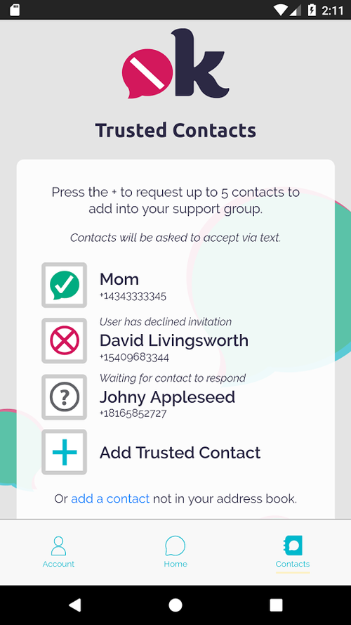 notOK app: add your closest friends and family to your Trusted Circle of contacts