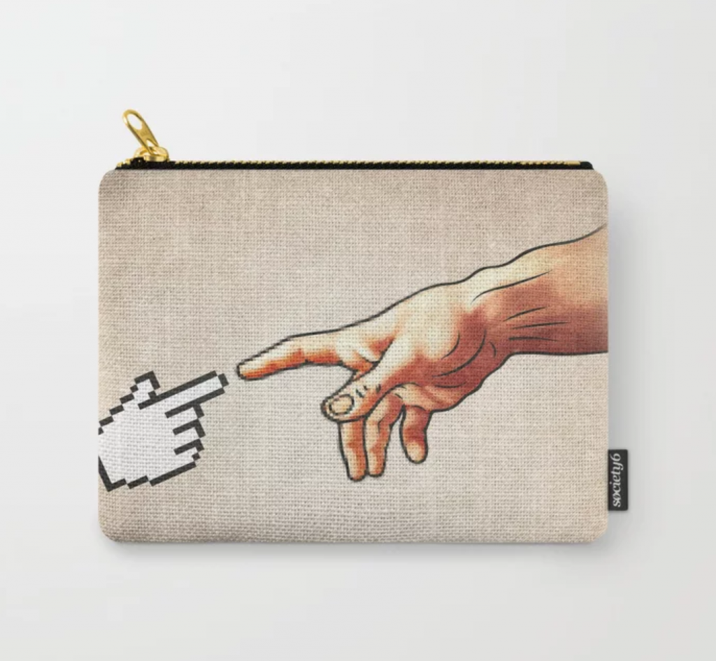 Delightfully geeky gifts under $20 | Creation of Adam Parody Pouch