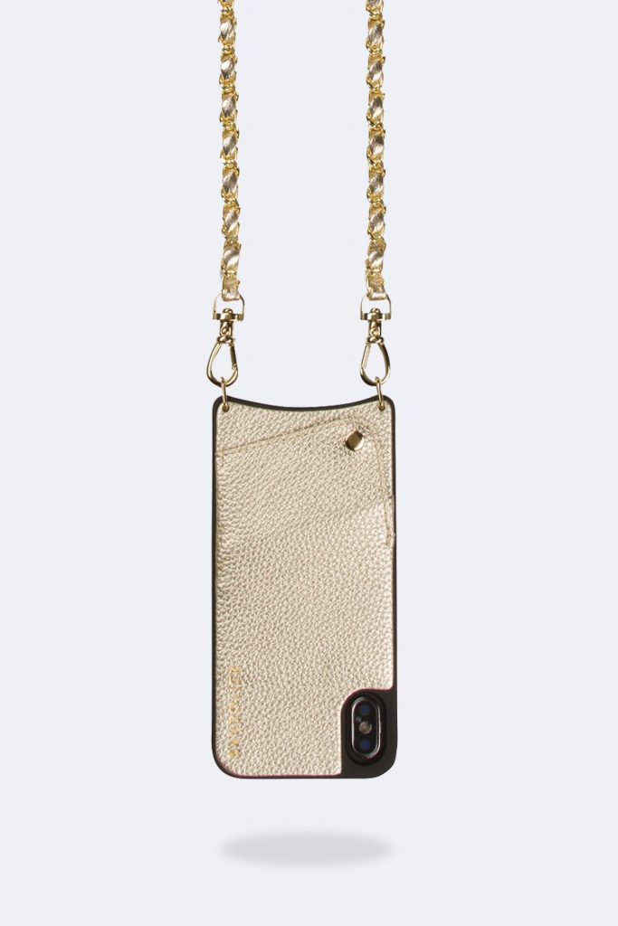 Stylish tech gifts for the trendsetter in your life: Gold Bandolier crossbody
