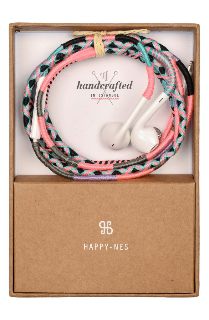 Stylish tech gifts for the trendsetter in your life: Happy-ness woven earbuds