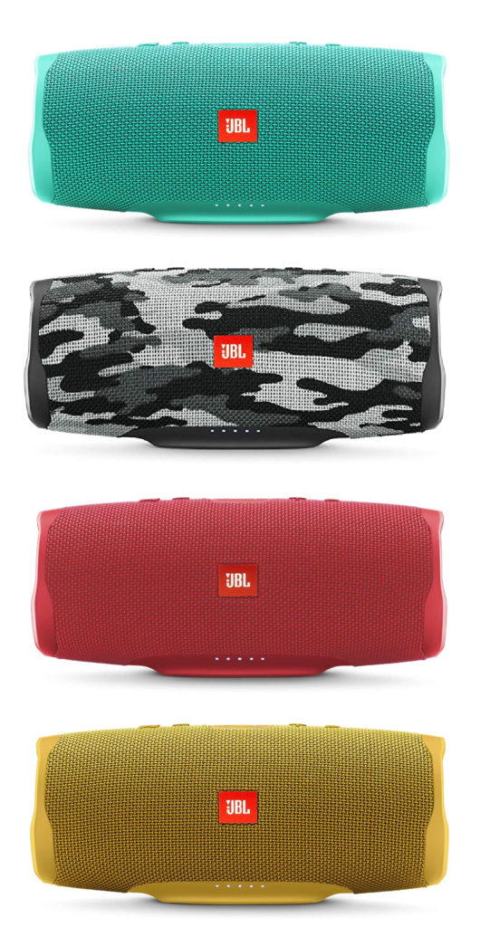 Tech Holiday Gift Guide for Teens; The JBL Charge 4 Portable Bluetooth speakers in lots of colors and designs