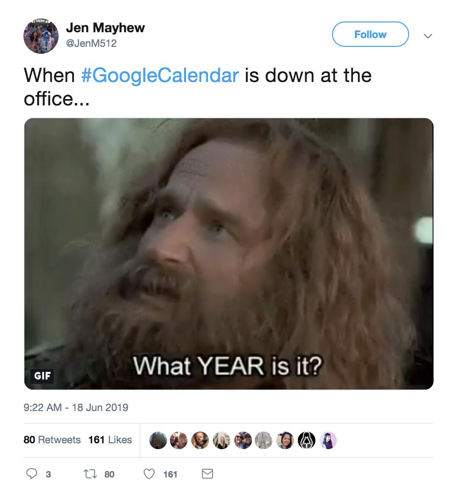 Google Calendar down: Funny tweet by Jen Mayhew