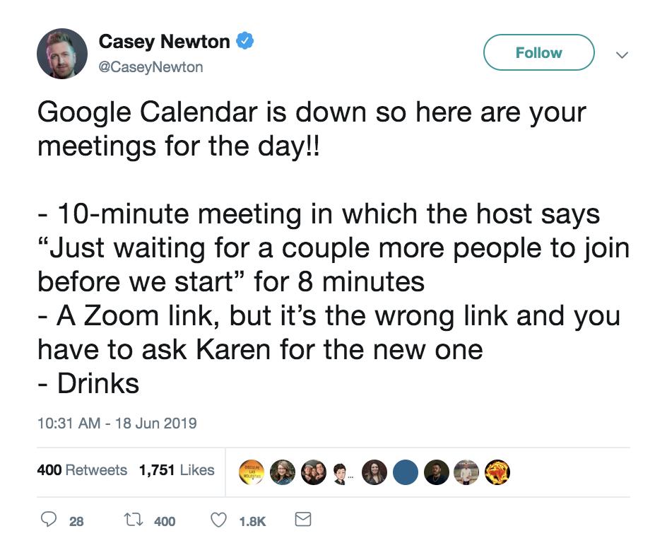 Google Calendar down: Funny tweet by Casey Newton
